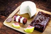 Brazilian Typical Dessert With Guava Paste, Cheese On A Wooden Background. Sweet Called Romeo And Ju poster