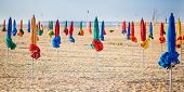 The Famous Colorful Parasols On Deauville Beach, Normandy, Northern France, Europe poster