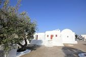 Oia traditional church styles in Santorini island, Greece landmark poster