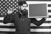 American Style. American Barber Hair Stylist Or Hairdresser American Flag Background. Man With Beard poster