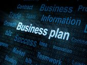 Pixeled Word Business Plan On Digital Screen