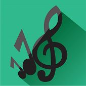 Treble Clef And Musical Notes Icon. Modern Colored Icons In A Flat Design With Long Shadow. poster