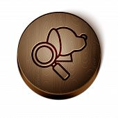 Brown Line Veterinary Clinic Symbol Icon Isolated On White Background. Magnifying Glass With Dog Vet poster