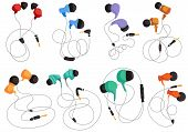 Headphones For Listening To Music, In-ear Headphones, Multi-colored Headphones. Vector Isolated Head poster