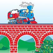 Tren de dibujos animados en el puente