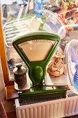 Floor Scales With Weights. Scales For Products. Old Green Iron Scales Of The Ussr. poster