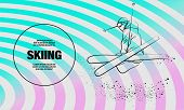 Skiing Freestyle Athlete In Fly Position With Cross Skis Figure. Vector Outline Of Skiing Freestyle  poster