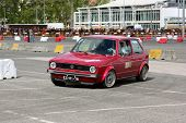 Leiria, Portugal - April 22: Paulo Silva Drives A Vw Golf Gti During Leiria City Slalom 2012