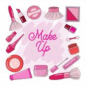 Design Makeup Cosmetic Collections For Beauty And Skin Care. Makeup Cosmetics Tools Background And B poster