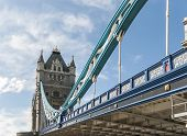 Low angle cropped shot of Tower Bridge, in London. The iconic bridge was completed in 1894.