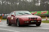 Leiria, Portugal - April 20: Paulo Ribeiro Drives A Porsche 944 Turbo During Day One Of Rally Verde