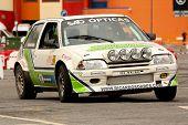 Leiria, Portugal - April 22: José Grosso Drives A Ford Escort ON Day Three Of Rally Verde Pino