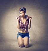 Beautiful woman dressed as a pinup