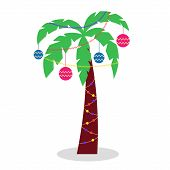 Christmas Palm Tree With Garlands Of Tinsel And Christmas Toys. Palm Tree With Green Leaves poster