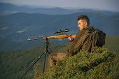 Illegal Hunting Poacher In The Forest. Hunter On Big Game Or Small Game. Hunting Gear - Hunting Supp poster