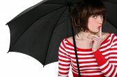 Woman stood with umbrella