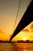 foto of tsing ma bridge  - tsing ma bridge in sunset - JPG