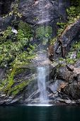 Small Water Fall In The Milford Sound
