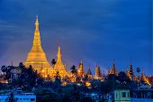 stock photo of yangon  - Night Illuminations Shwedagon pagoda in the city of Yangon - JPG