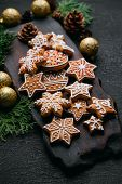 Christmas Mood, Greeting Card Background With Homemade Gingerbread Cookies, Evergreen Branches And D poster