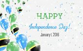 Tanzania, United Republic Of Independence Day Greeting Card. Flying Balloons In Tanzania, United Rep poster