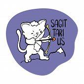 Sagittarius Astrological Zodiac Sign With Cute Cat Character. Cat Zodiac Icon. Kitten Sagittarius St poster