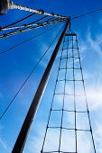 Marine Rope Ladder At Pirate Ship. Ladder Upstairs On The Mast.