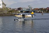 Seaplane Taking Off In Vancouver Islands