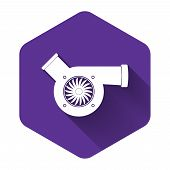 White Automotive Turbocharger Icon Isolated With Long Shadow. Vehicle Performance Turbo Icon. Car Tu poster