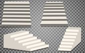 Set Of White Stairs. Isolated Staircase, 3d Staircase. Step Ladder Architecture Element, Vector Illu poster