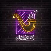 Jazz Music Neon Sign, Bright Signboard, Light Banner. Jazz Music Logo Neon, Emblem. Vector Illustrat poster