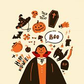 Collection Of Halloween Icon And Character.happy Halloween Hand Drawn Illustrations And Elements.hal poster
