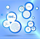 blue vector background, with bubbles, places for the text and some ecological logos
