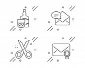 New Mail, Whiskey Glass And Scissors Line Icons Set. Verified Mail Sign. Received E-mail, Scotch Dri poster