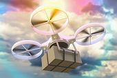 Drone, Quad Copter Is Delivering Package. 3d Rendered Illustration. poster