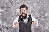 Friendly Wink. Caucasian Man Wink Eye On Abstract Wall. Caucasian Hipster Enjoy Jewish Dance. Bearde poster