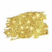 Golden Paint Glittering Backdrop On A White Background. Background With Gold Sparkles And Glitter Ef poster