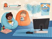 Video Game Room. Kids At Sofa Playing At Console Game With Two Gamepad Controllers And Tv Interior O poster