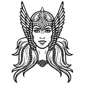 Portrait Of The Beautiful Young Woman Valkyrie. Pagan Goddess, Mythical Character. Linear Black The  poster