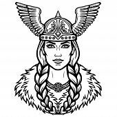 Portrait Of The Beautiful Young Woman Valkyrie In A Winged Helmet. Pagan Goddess, Mythical Character poster
