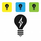 Black Light Bulb With Lightning Symbol Icon Isolated On White Background. Light Lamp Sign. Idea Symb poster