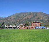 Field And Buildings In Aspen, Colorado