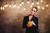 Beautiful Halloween Vampire Woman Portrait. Mysterious Model Girl With Halloween Make Up poster