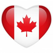Canada Flag Heart Glossy Button