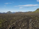 Icelandic Lava Desert Landscape With Footpath Of Laugavegur Hiking Trail With View On Tindfjallajoku poster