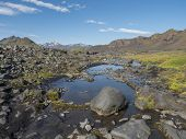 Icelandic Volcanic Landscape With Small Blue Pond, Wild Pink Flowers, Green Hills And Mountains. Fja poster