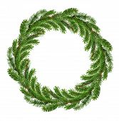 Christmas Wreath Of Xmas And New Year Winter Holidays Decoration. Christmas Tree Round Frame Fir And poster