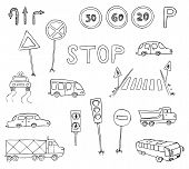 Traffic And Transportation Vector Set