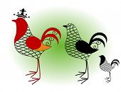 stock photo of chicken-wire  - rooster wire frame 3 styles - JPG