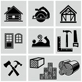 stock photo of timber  - Woodworking and timber house construction related icons set - JPG